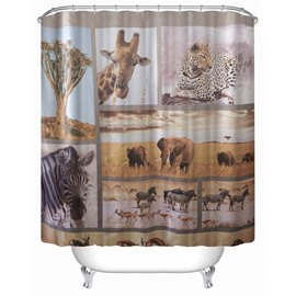 3D Elephants Zebras Leopards and Giraffes Polyester Waterproof Antibacterial and Eco-friendly Shower Curtain