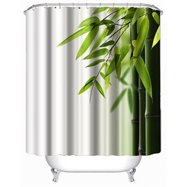 3D White Background with Green Bamboos Printed Polyester Waterproof Antibacterial Eco-friendly Shower Curtain