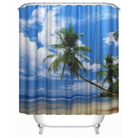 3D Beach in Blue Sky Polyester Waterproof Antibacterial and Eco-friendly Shower Curtain