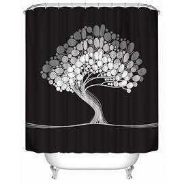 3D Black Background with White Tree Printed Polyester Waterproof Antibacterial Eco-friendly Shower Curtain