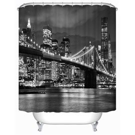 3D Bridge in Nightlight Polyester Waterproof Antibacterial and Eco-friendly Grey Shower Curtain