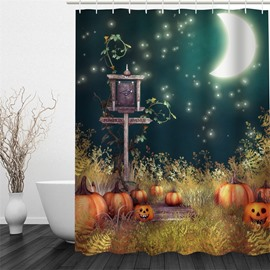 3D Halloween Night Jack-o-Lanterns Polyester Waterproof Antibacterial and Eco-friendly Shower Curtain