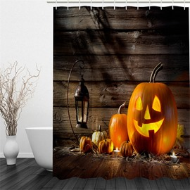3D Halloween Jack-o-Lanterns Printed Polyester Waterproof Antibacterial and Eco-friendly Shower Curtain
