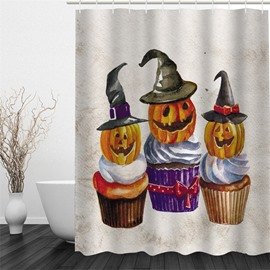 3D Halloween Pumpkins Polyester Waterproof Antibacterial and Eco-friendly Shower Curtain