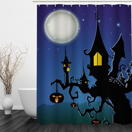 3D Halloween Jack-o-Lanterns House Tree Polyester Waterproof Antibacterial Eco-friendly Shower Curtain