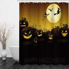 3D Halloween Jack-o-Lanterns Moon Polyester Waterproof Antibacterial and Eco-friendly Shower Curtain