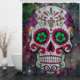 3D Floral Skull Printed Polyester Waterproof Antibacterial and Eco-friendly Shower Curtain