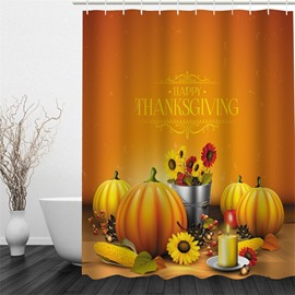 3D Yellow Pumpkins Printed Polyester Waterproof Antibacterial and Eco-friendly Shower Curtain