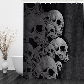 3D Skulls Polyester Waterproof Antibacterial and Eco-friendly Black Shower Curtain