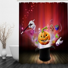 3D Halloween Jack-o-lantern Face Shield Pattern Gifts Hands Polyester Waterproof Antibacterial Eco-friendly Shower Curtain