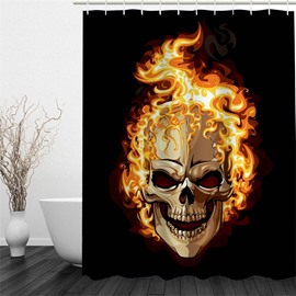 3D Flaring Skull Polyester Waterproof Antibacterial and Eco-friendly Black Shower Curtain