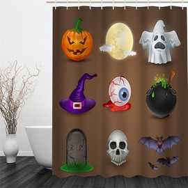 3D Halloween Marks Polyester Waterproof Antibacterial and Eco-friendly Brown Shower Curtain
