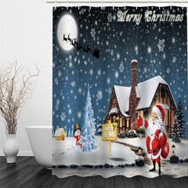 3D Christmas Father Snow Polyester Waterproof Antibacterial and Eco-friendly Shower Curtain
