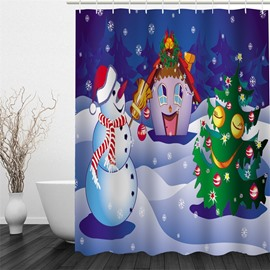 3D Christmas Tree Snowman Polyester Waterproof Antibacterial and Eco-friendly Shower Curtain
