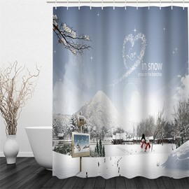 3D Snow Polyester Waterproof Antibacterial and Eco-friendly Shower Curtain