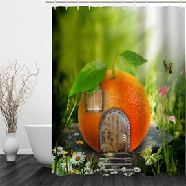 3D Door Window on Orange Polyester Waterproof Antibacterial and Eco-friendly Shower Curtain