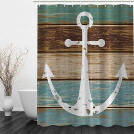 3D Anchor Wooden Boards Printed Polyester Waterproof Antibacterial Eco-friendly Shower Curtain
