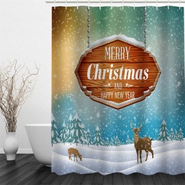 3D Christmas Deer Snow Polyester Waterproof Antibacterial and Eco-friendly Shower Curtain