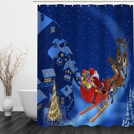 3D Christmas Father Deer Presents Polyester Waterproof Antibacterial Eco-friendly Shower Curtain