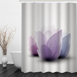 3D Purple Flowers Printed Polyester Waterproof Antibacterial Eco-friendly White Shower Curtain