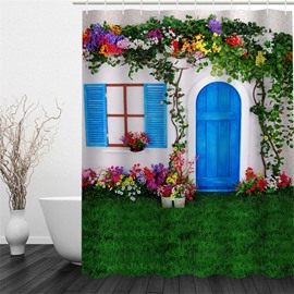 3D Green Lawn Flowers House Polyester Waterproof Antibacterial and Eco-friendly Shower Curtain