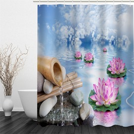 3D Lotus in River Polyester Waterproof Antibacterial and Eco-friendly Shower Curtain