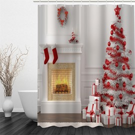 3D Red Christmas Tree Socks Printed Polyester Waterproof Antibacterial Eco-friendly Shower Curtain