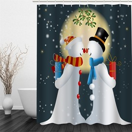 3D Snowmen Couple Printed Polyester Waterproof Antibacterial Eco-friendly Shower Curtain