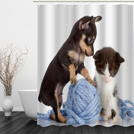 3D Dog Kitten Playing Yarn Ball Printed Polyester Waterproof Antibacterial Eco-friendly Shower Curtain