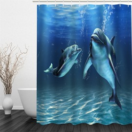 3D Blue Ocean Dolphins Printed Polyester Waterproof Antibacterial Eco-friendly Shower Curtain