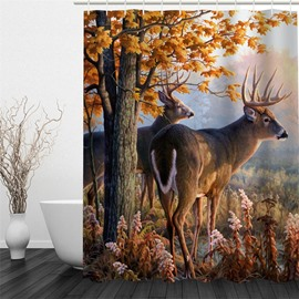 3D Deer Trees Printed Polyester Waterproof Antibacterial Eco-friendly Shower Curtain
