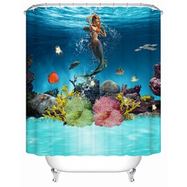 Underwater World Pattern Polyester Material Waterproof Shower Curtain