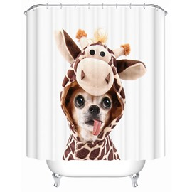 Cute Dog Pattern Mildew Resistant Waterproof Bathroom Shower Curtain