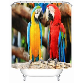 Parrots Pattern Polyester Material Mold and Mildew Resistant Shower Curtain