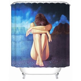 Sad Girl Pattern Mildew and Mold Resistant Polyester Material Shower Curtain