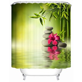 Red Flowers&Stones Pattern Mold Resistant Polyester Material Bathroom Shower Curtain