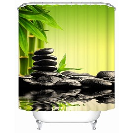 Polyester Material Bamboos&Stones Pattern Mold Resistant Shower Curtain