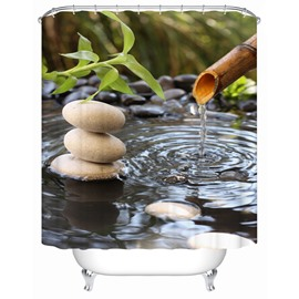 Stones&Water Pattern Mildew Resistant Polyester Material Shower Curtain