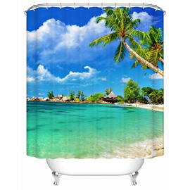 Coconut Tree Pattern Polyester Material Waterproof Bathroom Shower Curtain