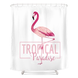 Flamingo Pattern Polyester Material Moist Resistant Shower Curtain