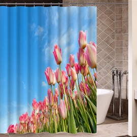 Waterproof Tulips Pattern Polyester Material Mildew Resistant Shower Curtain