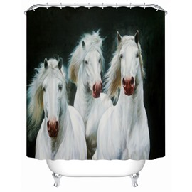 Waterproof White Horses Pattern Polyester Material Moist Resistant Shower Curtain