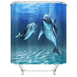 Dolphins Pattern Anti-Bacterial Waterproof Mildew Resistant Shower Curtain