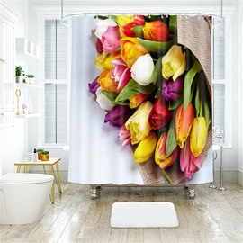 3D Colorful Flower Printed Polyester Bathroom Shower Curtain