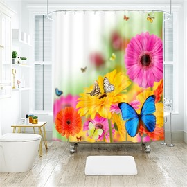 3D Butterfly And Flower Printed Polyester Bathroom Shower Curtain