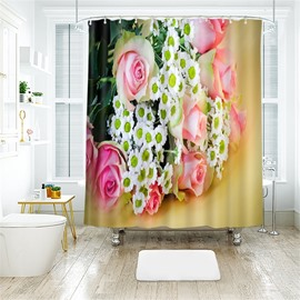 3D A Bunch Of Roses Printed Polyester Bathroom Shower Curtain