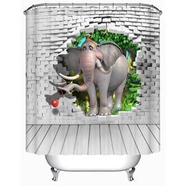 Elephant and Wall Bricks 3D Printed Bathroom Shower Curtain