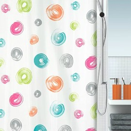 New Arrival Pretty Colorful Circles Printing Shower Curtain