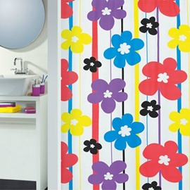 High Quality Colorful Fabulous Flora Printing Shower Curtain