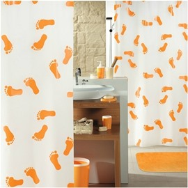 High Quality Cute Orange Footprints  Printing Shower Curtain